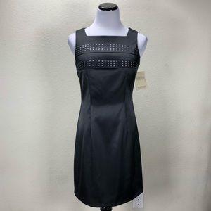 NWT CDC Black Satin & Silver Stretch Dress